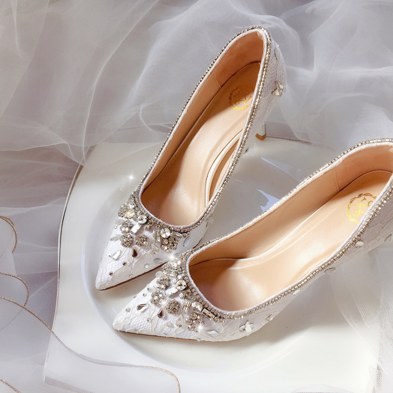 Bride Shoes Marriage Shoes Female 2019 New Designs Diamond Red Wedding Female Crystal Garment Fine-heeled White Party Pumps