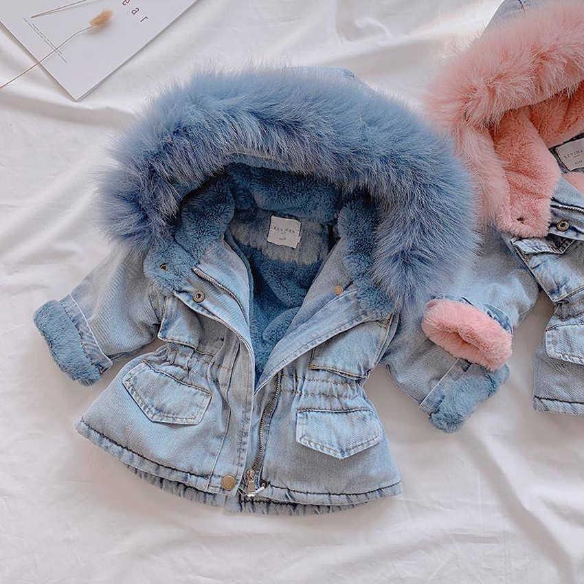 CYSINCOS 2020 invierno Bebé chaqueta de denim para mujer, además de terciopelo de piel caliente niño abrigos Año 1-6 chico bebé Parka cazadora