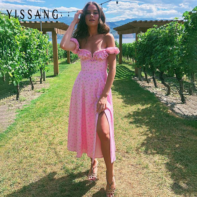 Yissang Floral Print Puff Short Sleeve Women Dress High Split Party Long Dresses Elegant Lace Up Sweet Summer Club Sexy Dress 14