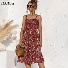Vestido de tirantes finos para mujer, dibujo de lunares, cuello redondo, Vintage, sin tirantes, a media pierna ajustado, informal, verano 2021