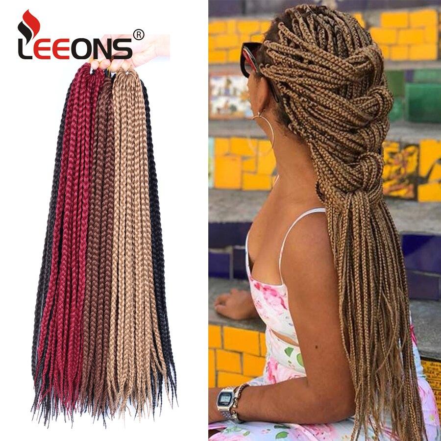 Leeons-extensiones de pelo trenzado sintético para mujer, trenzas de 12