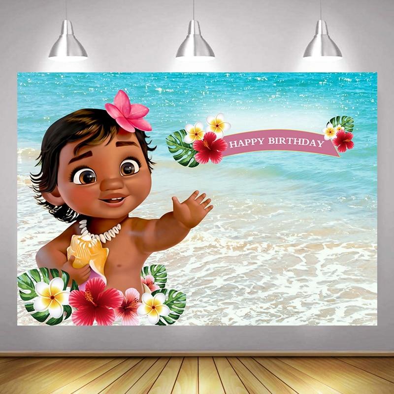 Baby Moana Photo Backdrop Girls Princess Newborn Happy Birthday Party Cartoon Vaiana Decoration Photography Backgrounds Banner