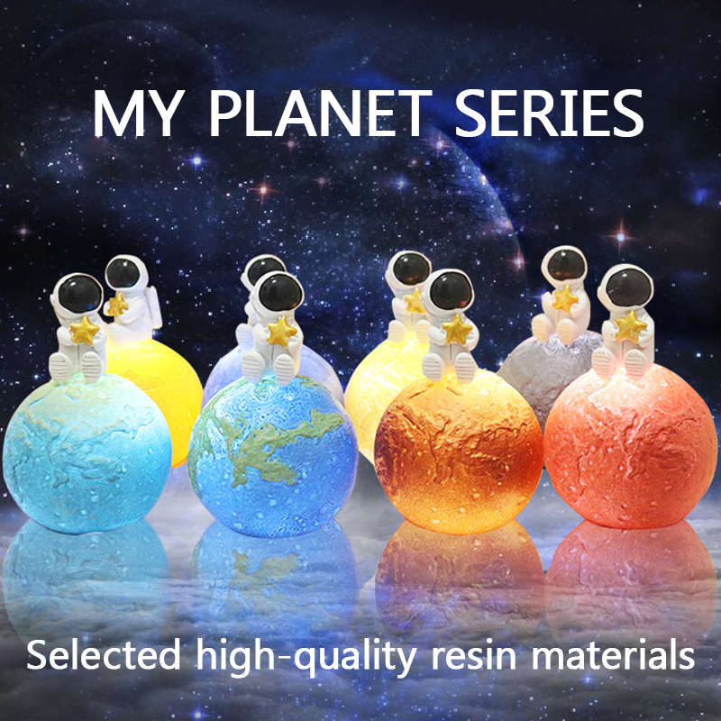 2019 New Dropship Planet Light Creative Night Light Astronaut Light Resin Decoration Bedside Lamp Night Lamp