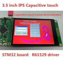 Placa de teste avaliação stm32 pcb adaptador 3.5 polegada r61529 controlador 45 pinos capacitância resistência painel toque opcional 320x480