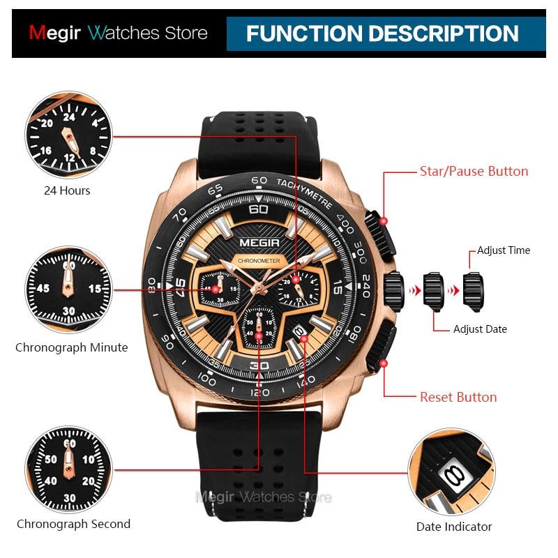 Megir Mannetjes Mens Chronograph Sport Horloges Met Quartz Uurwerk Rubberen Band Lichtgevende Horloge Voor Man Jongens 2056G-1N0 6