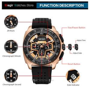 Image 5 - Megir זכרים Mens הכרונוגרף ספורט שעונים עם קוורץ תנועה גומייה זוהרת שעוני יד לגבר בני 2056G 1N0