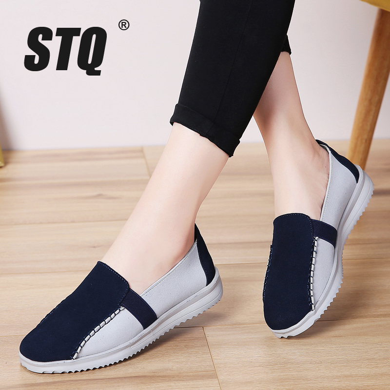 Ladies Flats Shoes Slip-On Walking-Boats Autumn Women STQ 7761 Chaussures Femme