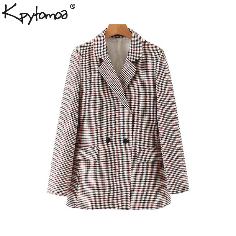 Vintage Stylish Office Lady Double Breasted Houndstooth Blazer Coat Women 2019 Fashion Long Sleeve Pockets Chic Plaid Outerwear
