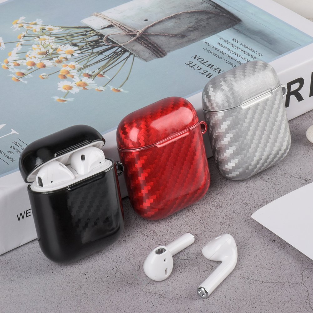 Carbon Fiber Earphone Cover For Airpods 1 2 Wireless Bluetooth Headphone Bag Case For AirPods 1 2 Charging Box Hard PC Case