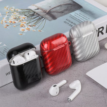 Carbon Fiber Earphone Cover For Airpods 1 2 Wireless Bluetooth Headphone Bag Case For AirPods 1 2 Charging Box Hard PC Case(China)