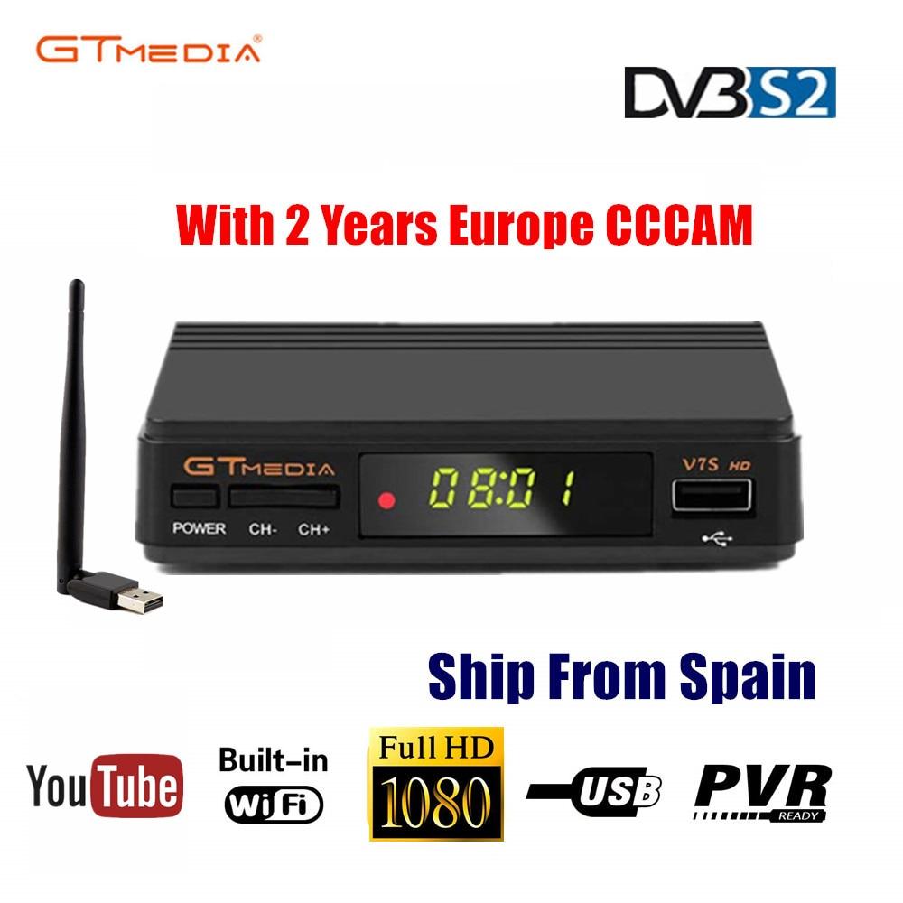 Freesat V7s HD CCcam Satellite Receiver +2 Year Europe Spain CCcam 7 Clines Server+1 USB WIF Device DVB-S2 Satellite HD Receiver