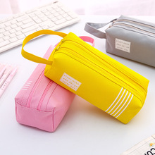 Large Double Zipper Pencil Case Cute Clear PencilCase Kawaii Bag School&Office Stationery Supplies for Girls Canvas Pencil Box iridescence clear pencil case