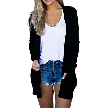 Knitwear Cardigan Women Large Size  Solid V-neck plus size feminino Vintage black  Cardigan Long Sleeve Coat Pockets Outerwear