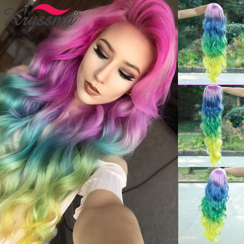 Kryssma Long Wavy Synthetic Wigs For Women Ombre Pink Blue Green Yellow 4 Tones Lace Front Wig Colorful Rainbow Cosplay Wigs