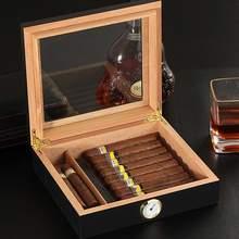 Humidor-Box Cigar-Case Hygrometer Cedar Wood COHIBA Portable