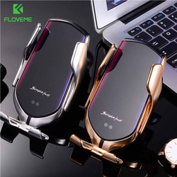 Soporte de teléfono para coche FLOVEME 2 en 1, cargador inalámbrico, soporte de coche inductivo automático para Samsung Note10 S8 S9 S10, soporte móvil