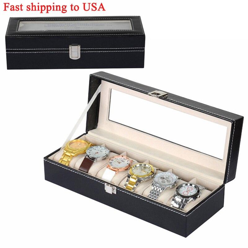 1PC Makeup Storage Box High-end Protable Clock Watch Organizer Holder Black Watch Storage Box Grids PU Leather Jewelry