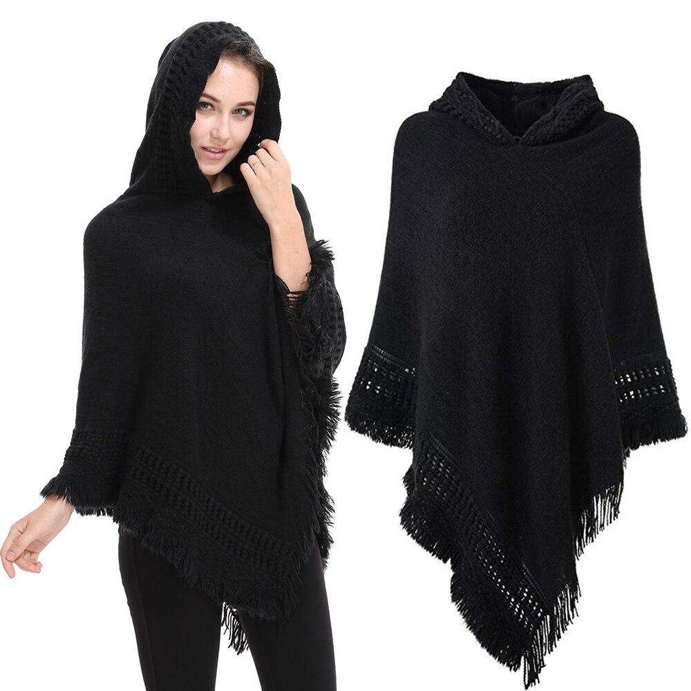 Повседневный женский свитер, пончо, вязаная накидка, свитера с капюшоном и кисточками, однотонный пуловер, женское пончо, теплое пальто