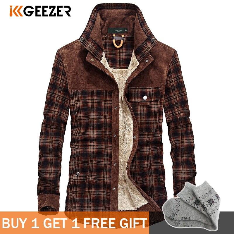 군사 격자 무늬 플란넬 남성 셔츠 남성 자켓 겨울 따뜻한 양털 두꺼운 코트 코튼 고품질 포켓 느슨한 셔츠 dropshipping