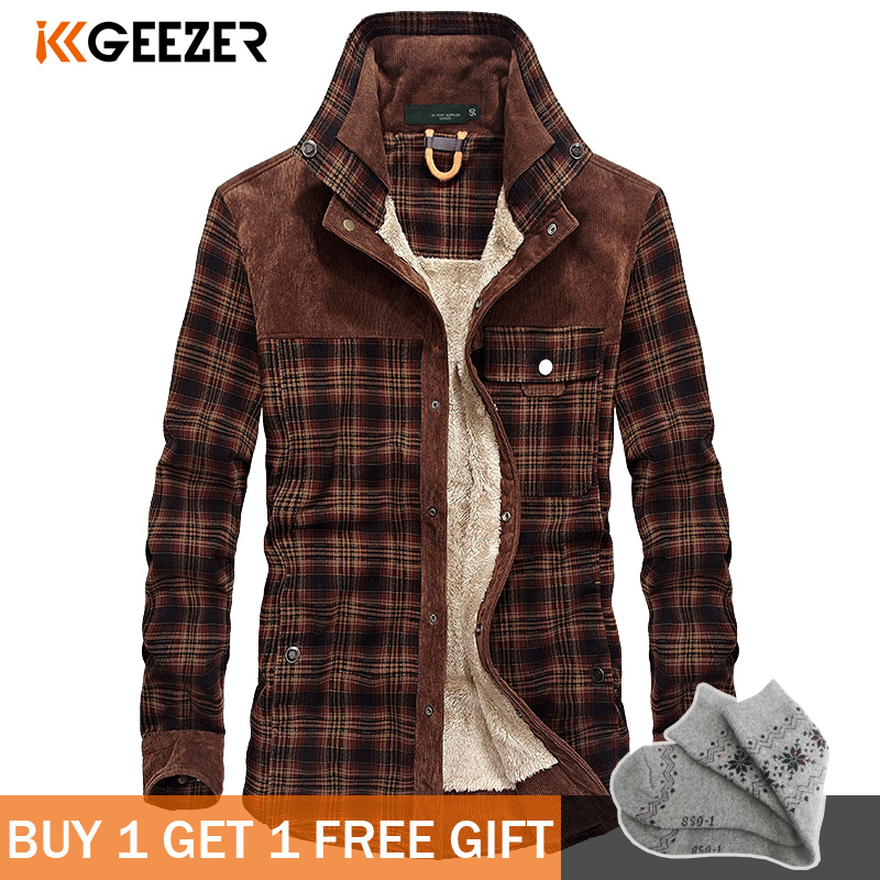 Military Plaid Flannel <font><b>Men</b></font> <font><b>Shirt</b></font> Male Jacket <font><b>Winter</b></font> <font><b>Warm</b></font> Fleece Thick Coat Cotton High Quality Pocket Loose <font><b>Shirts</b></font> Dropshipping image