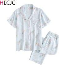 New Cotton Crepe Short Sleeve Long Pants Pajamas For Women Turn down Collar Feather Print Full Length Pajama Set  Home Pijama