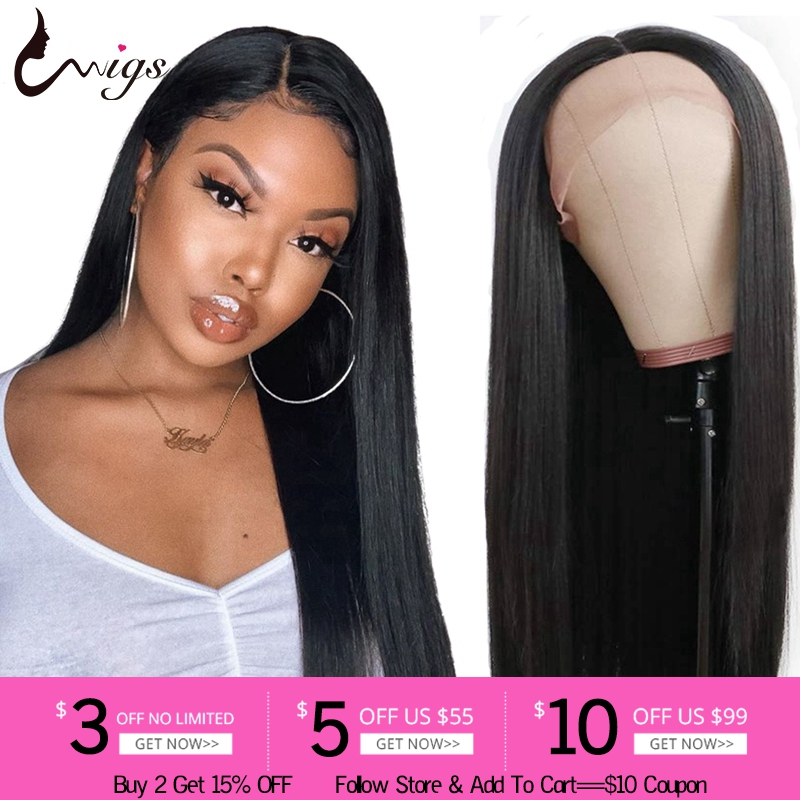 Uwigs Brazilian Straight Wig 13x4 Lace Front Human Hair Wigs For Black Women Transparent Remy Lace Frontal Wig Pre Plucked 8-26