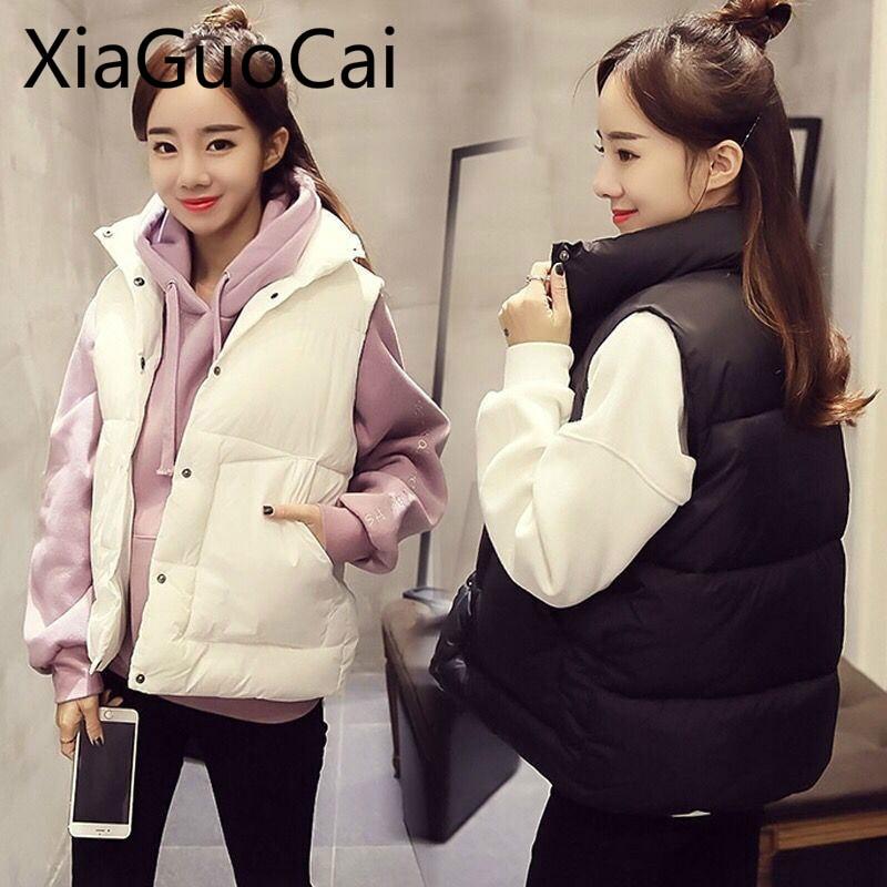 Winter White And Black Women Vest Newest Female Short Jackets Loose Wild Casual Jacket Down Vest Parkas Outerwear Clothes