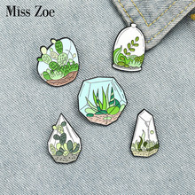 Potted Plant Enamel Pins Custom Terrarium Cactus Aloe Brooches Bag Clothes Lapel Pin Green Plant Badge Jewelry Gift for Friends