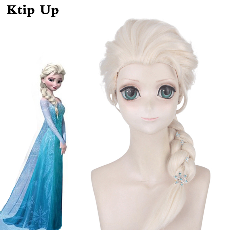 Movie Cosplay Elsa Princess Wigs Platinum Blonde Braids Synthetic Hair Halloween Party Role Play Costume Wig For Child Kids
