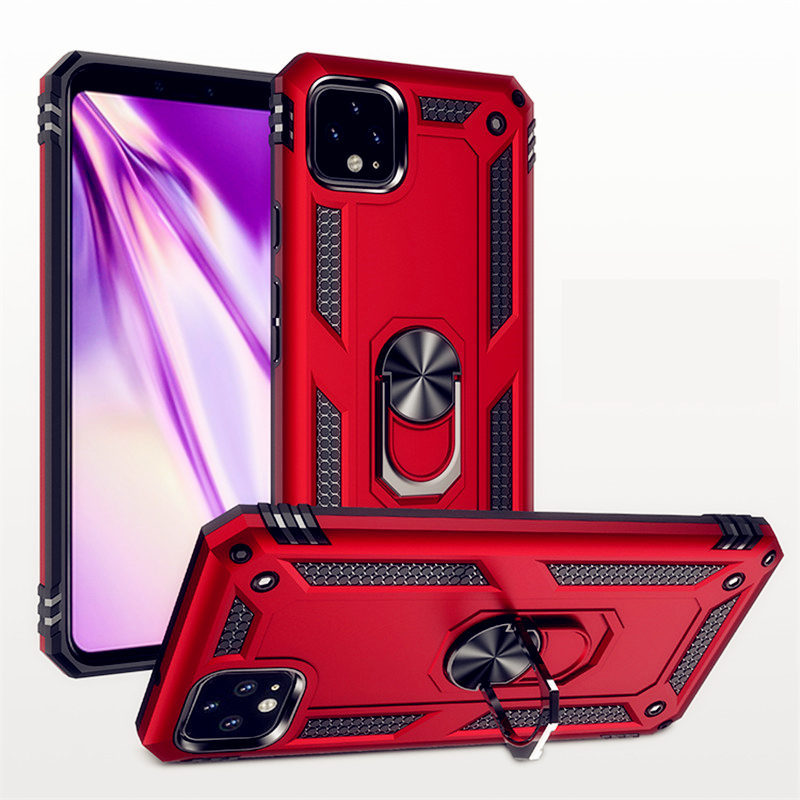 Luxury Metal Ring Case For Google Pixel 4 / 4XL Silicone Armor Bumper Shockproof Cover For Pixel 3A / 3A XL Rugged Coque Fundas