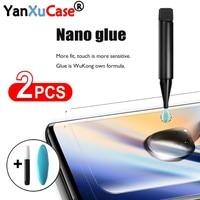 Protector de pantalla UV de cristal templado para móvil, 2 uds., para Oneplus 8 1 + 8 Pro, Nano líquido completo, para One Plus 9 Pro 7 7T Pro, desbloqueo por huella dactilar
