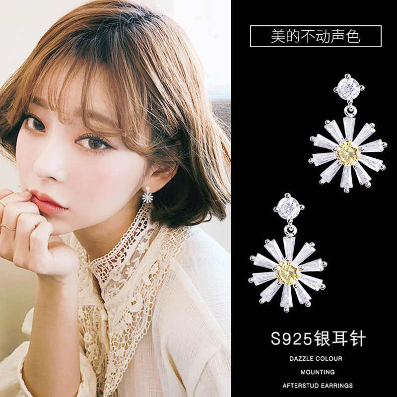 Korea Earrings For Women Big Stud Earrings Daisy Model Silver Needle Earrings Womens Jewellery Wedding Bridal Jewelry Wholesale