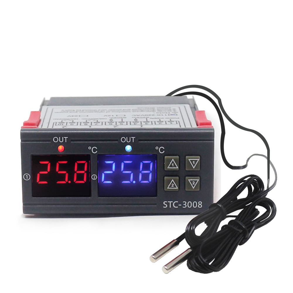 Dual Digital Incubator Thermostat Temperature Controller Two Relay Output Thermoregulator 10A Heating Cooling STC-3008 KT1000