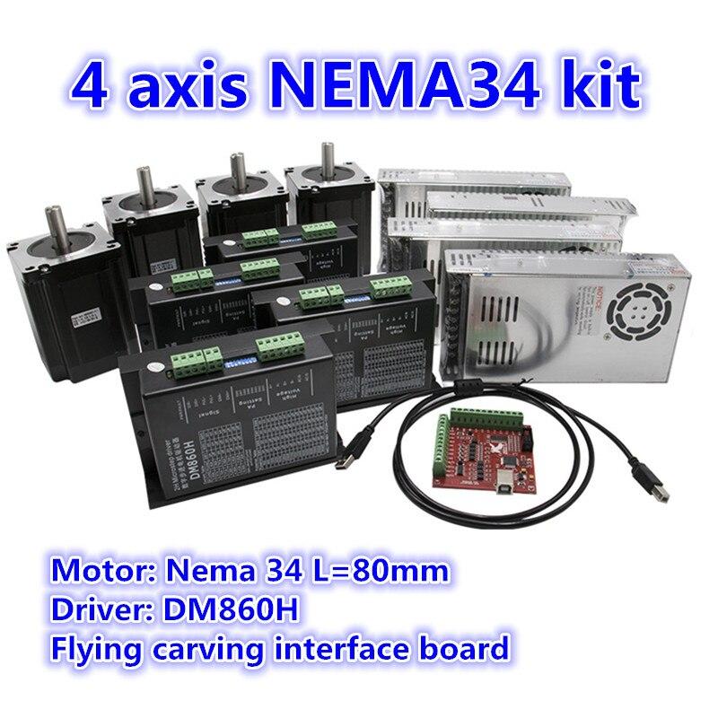 4 assi Motore Passo A Passo Kit: nema34 stepper 4.5N.m + DM860H Servo Driver + 350W di potenza di alimentazione + 4 assi di Interfaccia del bordo моторчик
