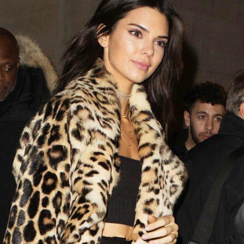 2019 jesień zima kobiety Faux futro Leopard długi płaszcz elegancki bawełniana Parka płaszcz kobiety ciepłe futro pluszowy płaszcz na co dzień wąska kurtka płaszcz