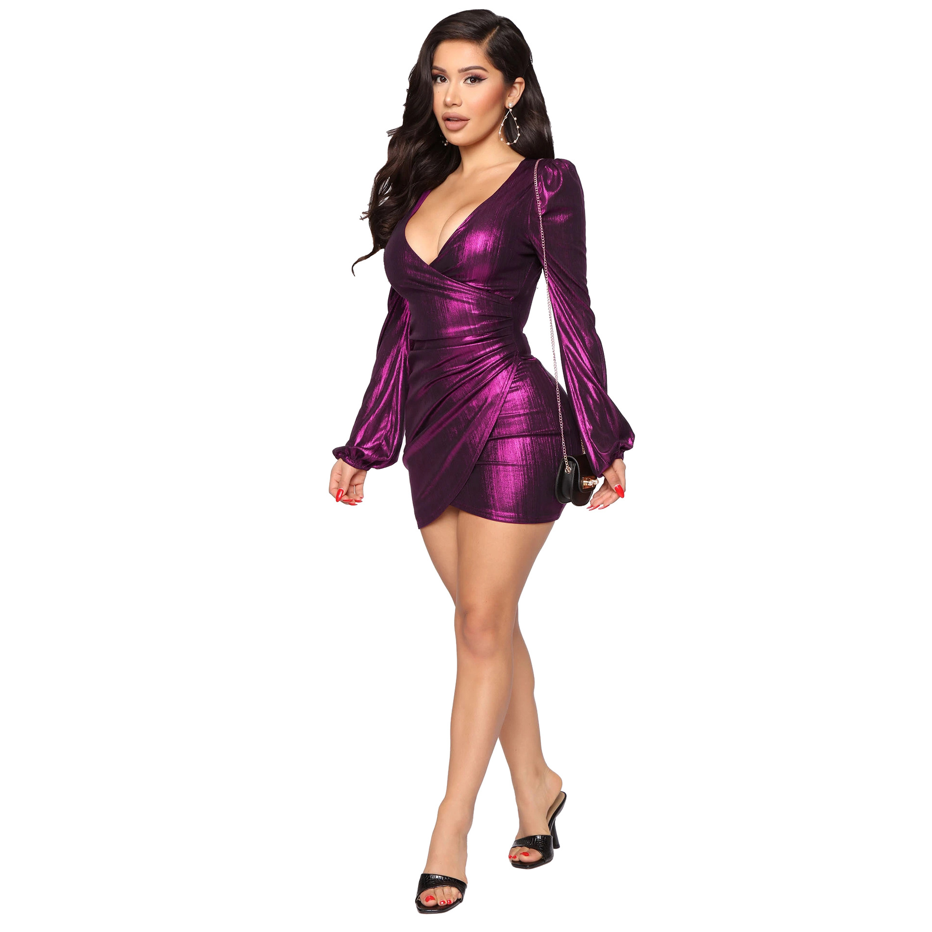 Shiny Bronzing Ribbed Elegant Bandage Dress Women Sexy Deep V Neck Long Sleeve Ruched Dresses Vintage High Waist Slim Fit Dress 7