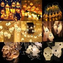 Tira de luces Led con batería AA para decoración del hogar, farol de araña, Ojos de murciélago, calabaza, fantasma, para fiesta de Halloween, 1,5 m, 10LED