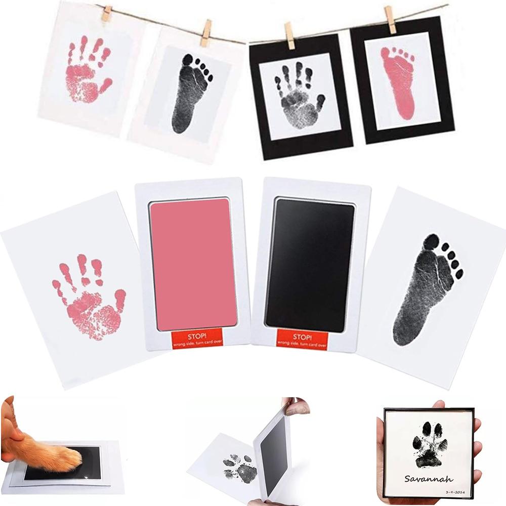 Ungiftig Baby Tintenlosen Handabdruck Fußabdruck Kit Keine Touch Haut Tinte Pads für 0-6 Monate Souvenir Geschenk für Infant Neugeborenen Pfote Drucken