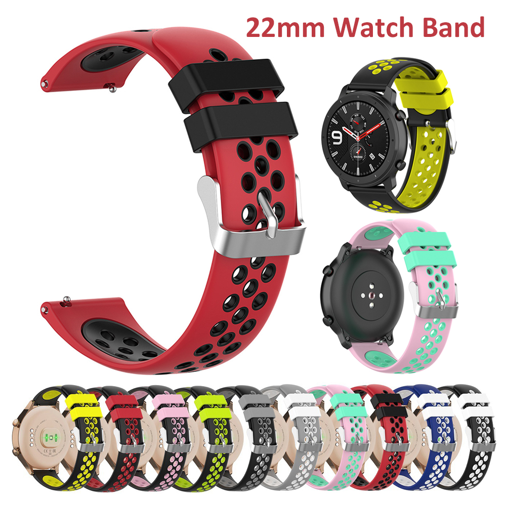 Soft Replacement Breathable Sport Bands Strap for Samsung Gear S3 Galaxy Watch 46mm Huawei Watch GT 2 Accessories Wristband 22mm
