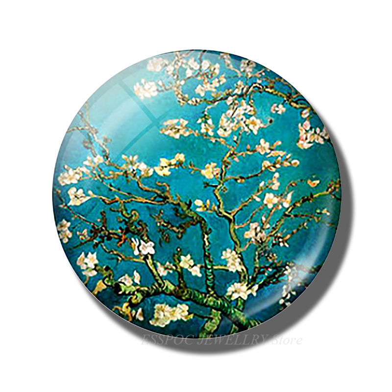 5PCS SET Handmade 12 16 20 25 30mm Glass Cabochon Van Gogh Star Night Pendant Art Picture Jewelry Findings Accessories Gifts in Jewelry Findings Components from Jewelry Accessories