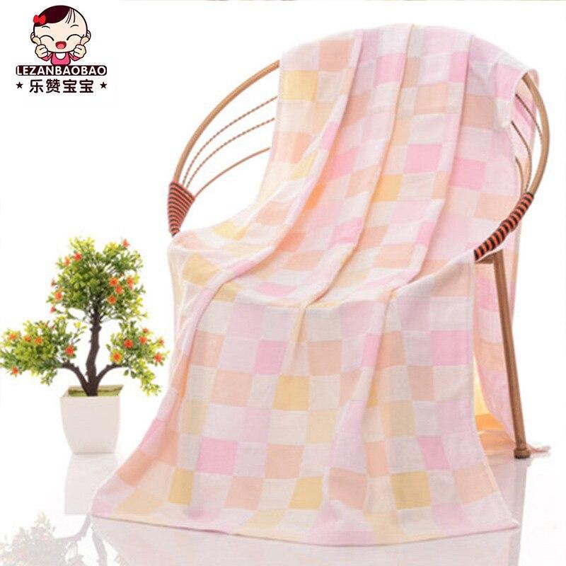 Plaid Gauze Bath Towel Infant Double Layer Pure Cotton Adult Bath Towel For Children Double Layer Towel Blanket
