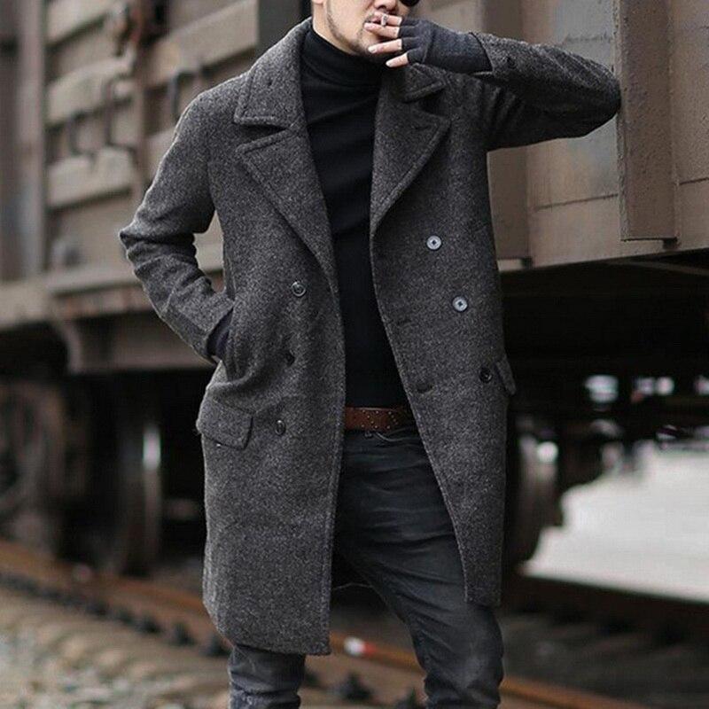 Men Vintage Coat Woolen Overcoat Autumn Winter Clothes Abrigo Hombre Men Loose Windbreaker Jacket Oversized Long Coat Outerwear