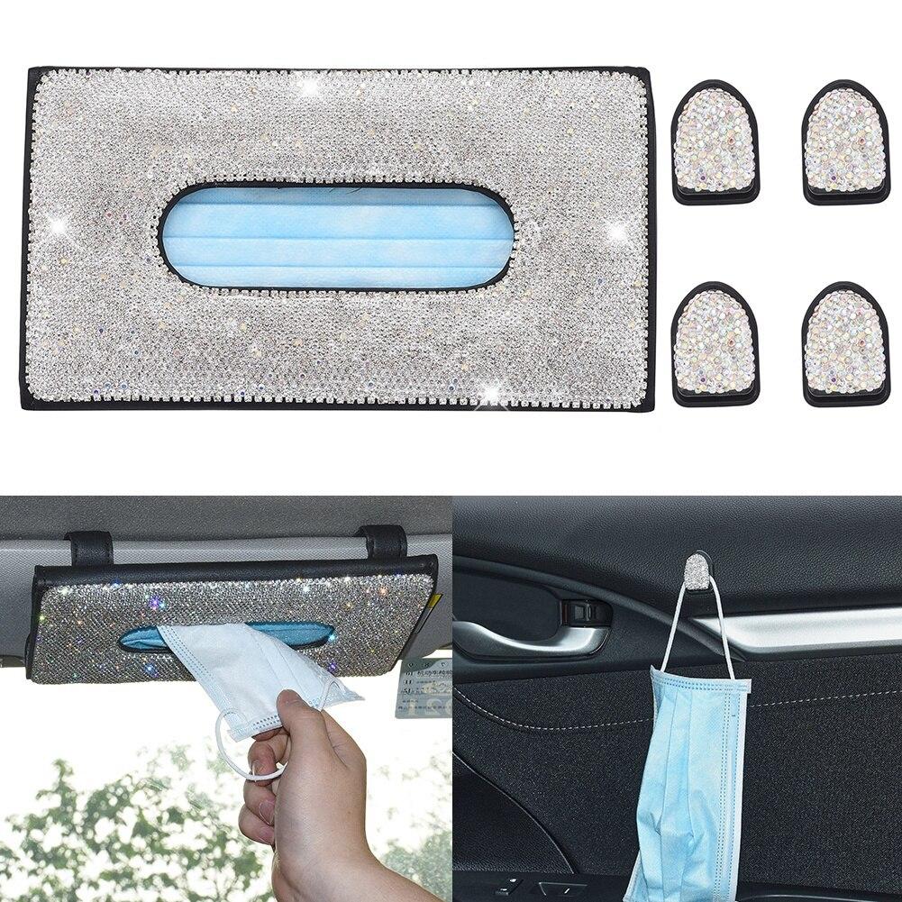 Shiny Rhinestone Set Car Sun Visor Tissue Box Cover Mask Storage Box Paper Towel Holder 4pcs Hook Clips