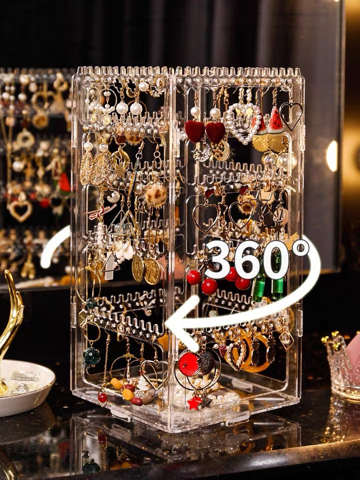 236 Holes Rotating Transparent Jewelry Box Earrings Display Stand Organizer Large Capacity Bracelet Necklace Storage Box