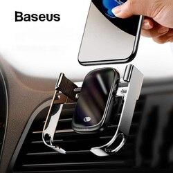 Baseus 10W Qi cargador inalámbrico de coche para iPhone cargador inalámbrico de coche inteligente infrarrojo de carga rápida inalámbrico cargador de teléfono de coche