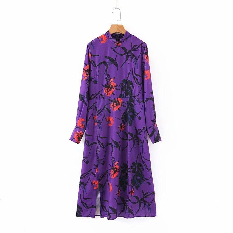 2019 New Women Purple Floral Print Midi Dress Long Sleeve Back Zipper Split Female Stylish Mid Calf Dresses Chic Vestidos DS2765