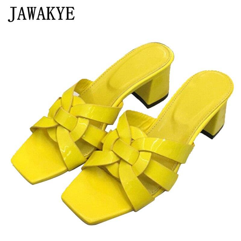 2018 elegancki krzyż tkane Sandały gladiatorki kobieta Open Toe prawdziwe skórzane szpilki kobiety modne pantofle w Kapcie od Buty na  Grupa 1
