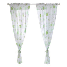 1PC Fit Living Room Sheer Voile Curtain Morden Printed Kitchen Tulle Curtain Decoration Modern Valance Window Treatments(China)