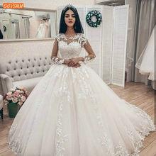 Wystawne arabskie białe suknie ślubne z długim rękawem Appliqued tiulowa sukienka balowa suknie ślubne afryki 2020 suknia ślubna szyta na zamówienie sukienka tanie tanio GGVSMM O-neck Długość podłogi Sweep brush pociąg Pełna Lace up Tulle Aplikacje Koronki Luxury ru wedding Dress Naturalne