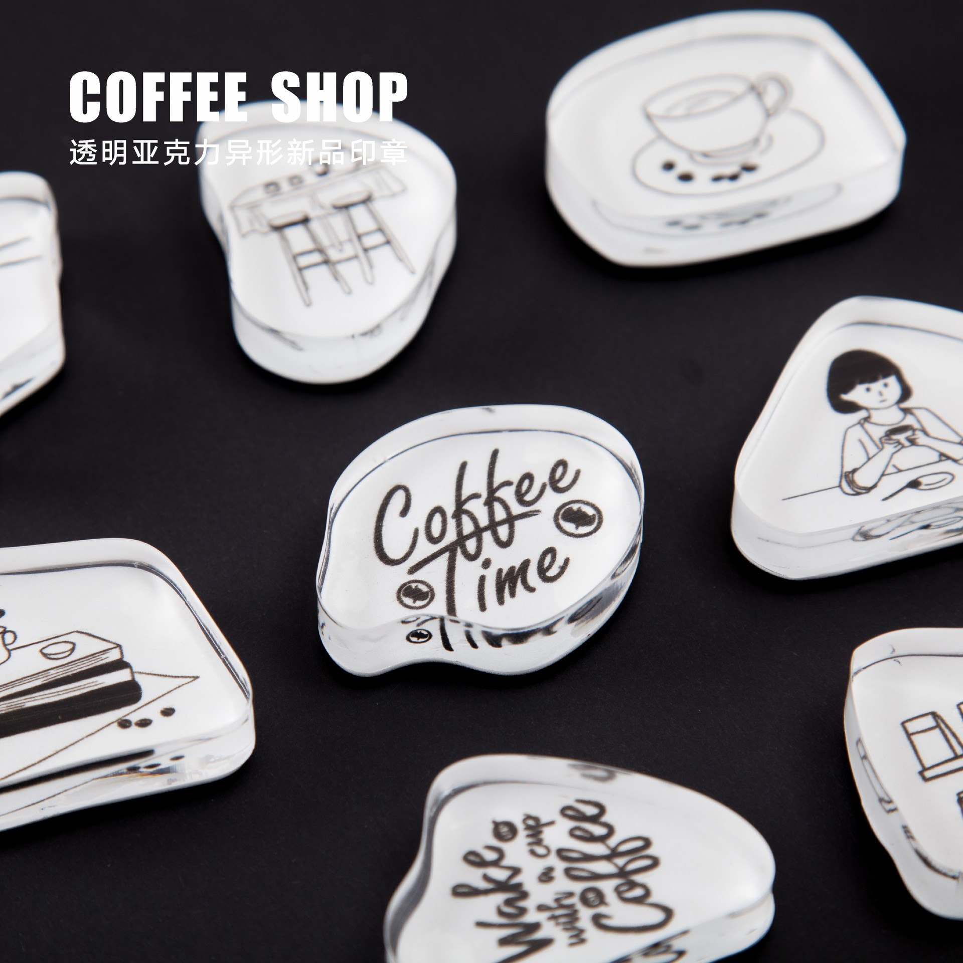 Vintageกาแฟชุดแสตมป์ตัวอักษรภาษาอังกฤษDIYอะคริลิคแสตมป์ ยางสำหรับเครื่องเขียนScrapbookingโปร่งใสแสตมป์|ที่ใส่ป้ายและอุปกรณ์เสริม